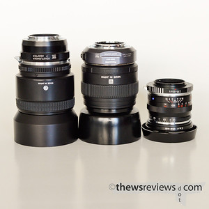 left to right: F-mount, 4/3-mount, and M-mount lenses