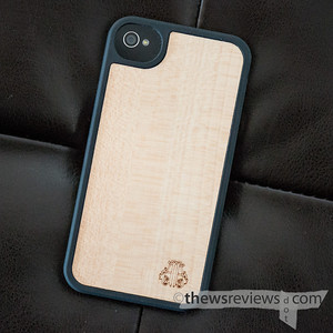 Tribeca Wood iPhone Case on black leather to show visual contrast